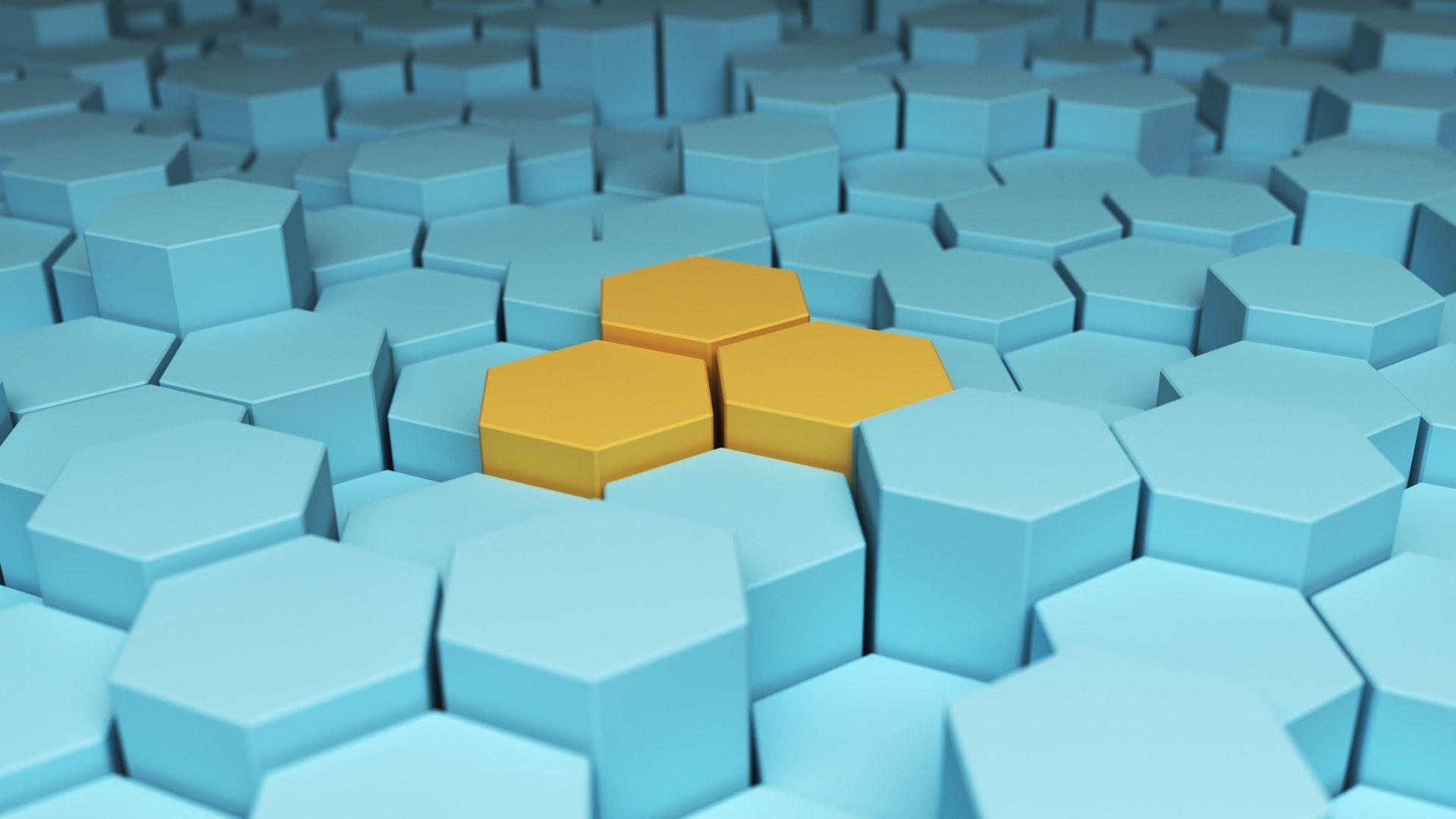hexágonos, distinção, Trio, cores, Amarelo - Papéis de parede HD - Professor-falken.com