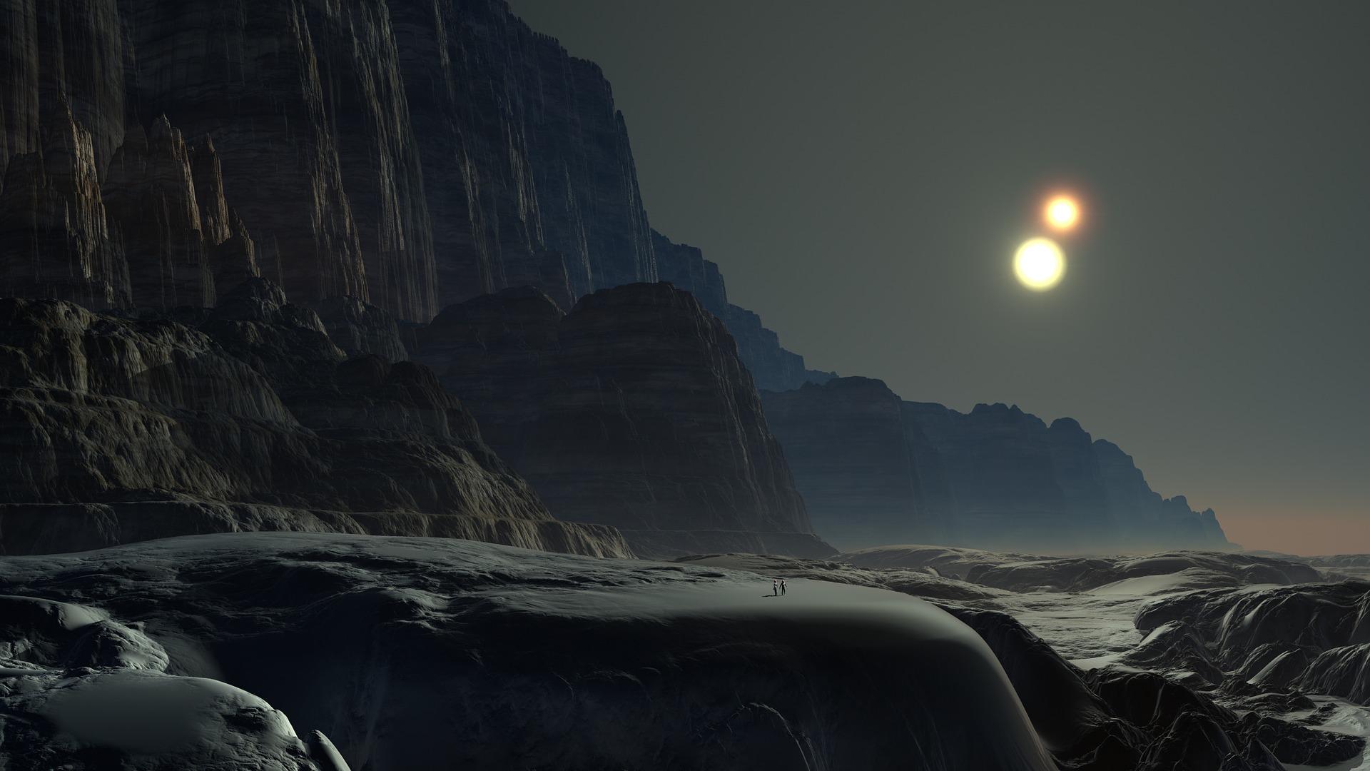 planeta, Sol, Duplo, Estrela, montanhas - Papéis de parede HD - Professor-falken.com