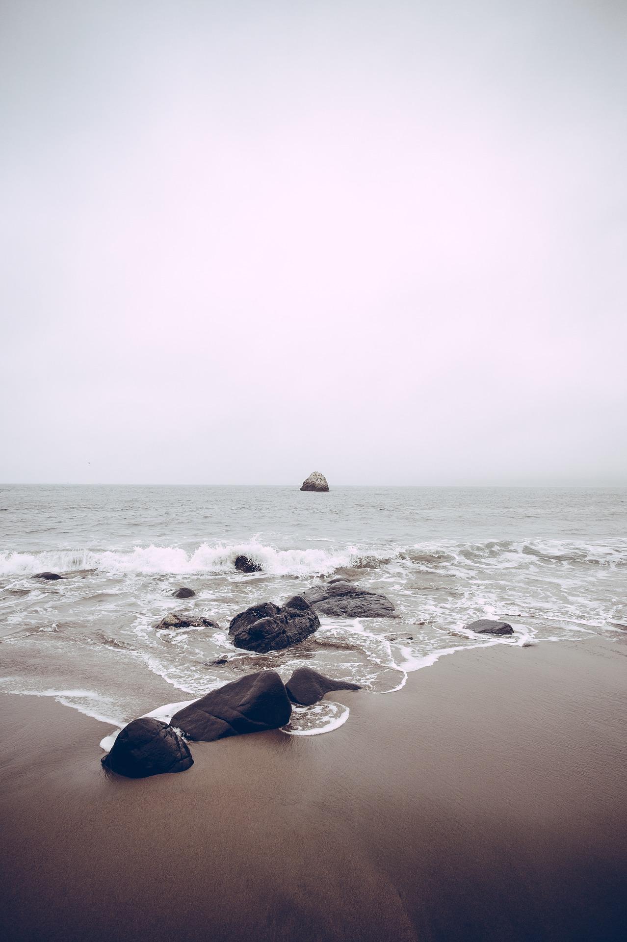 Пляж, камни, волны, расслабиться, Лето - Обои HD - Профессор falken.com