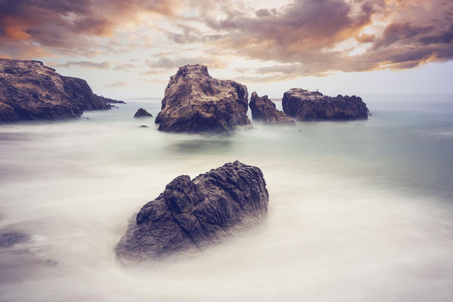 rocas, niebla, océano, calma, nubes - Fondos de Pantalla HD - professor-falken.com
