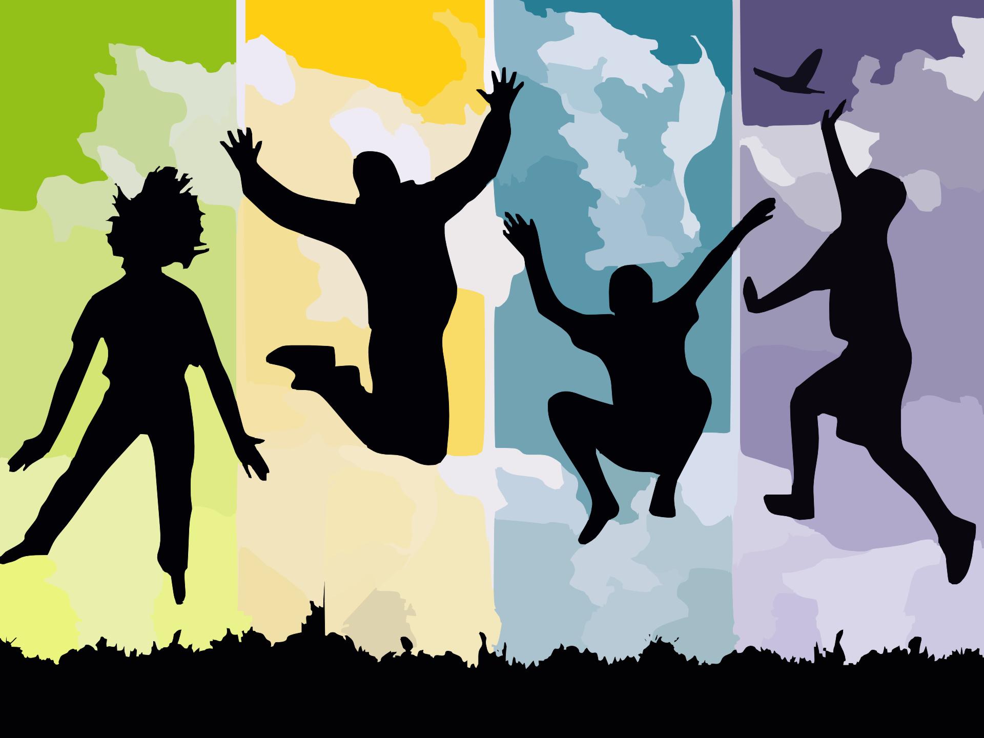 剪影, 跳转, 年轻, 幸福, 舞蹈 - 高清壁纸 - 教授-falken.com