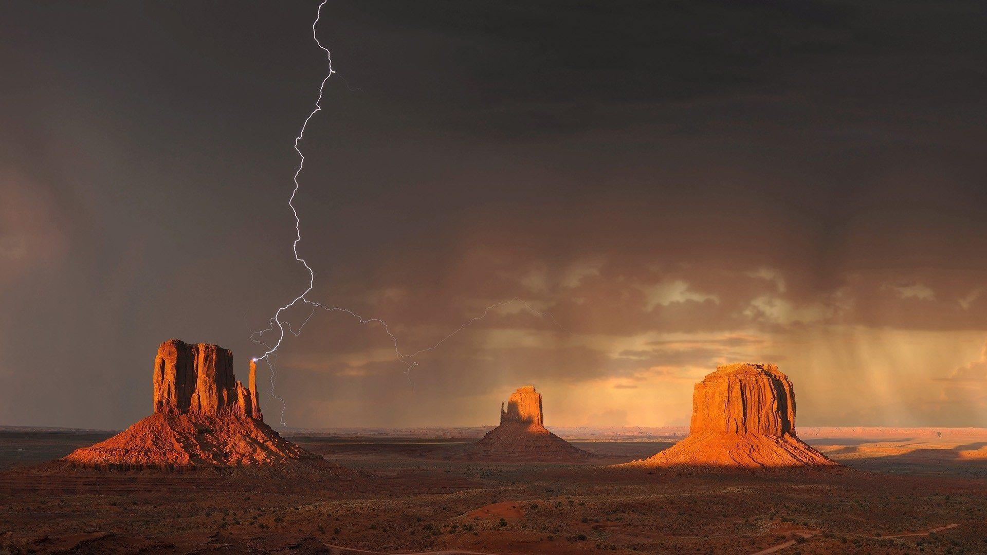 Tempesta, Valle, Ray, nuvole, Valle del monumento - Sfondi HD - Professor-falken.com