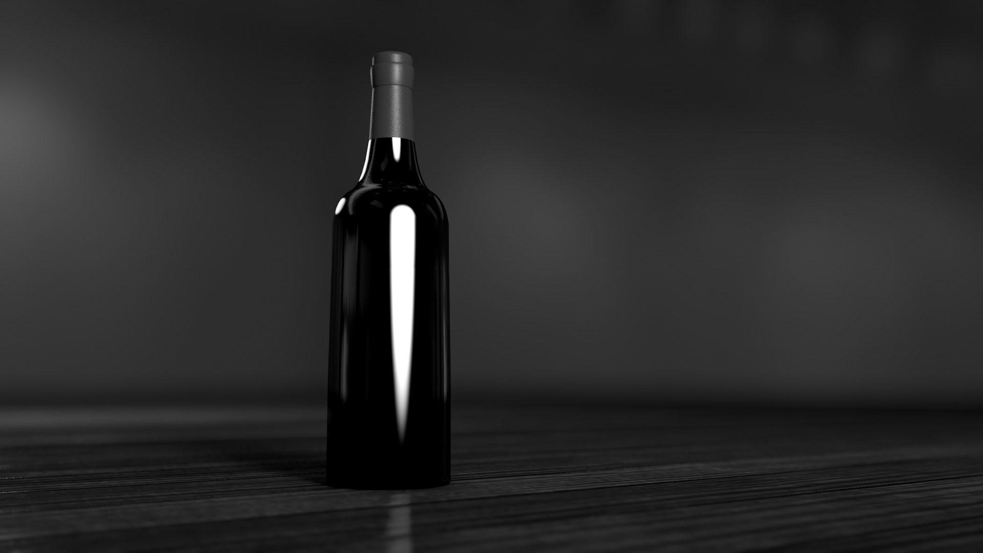 bottiglia, vino, minimalista, Soledad, in bianco e nero - Sfondi HD - Professor-falken.com