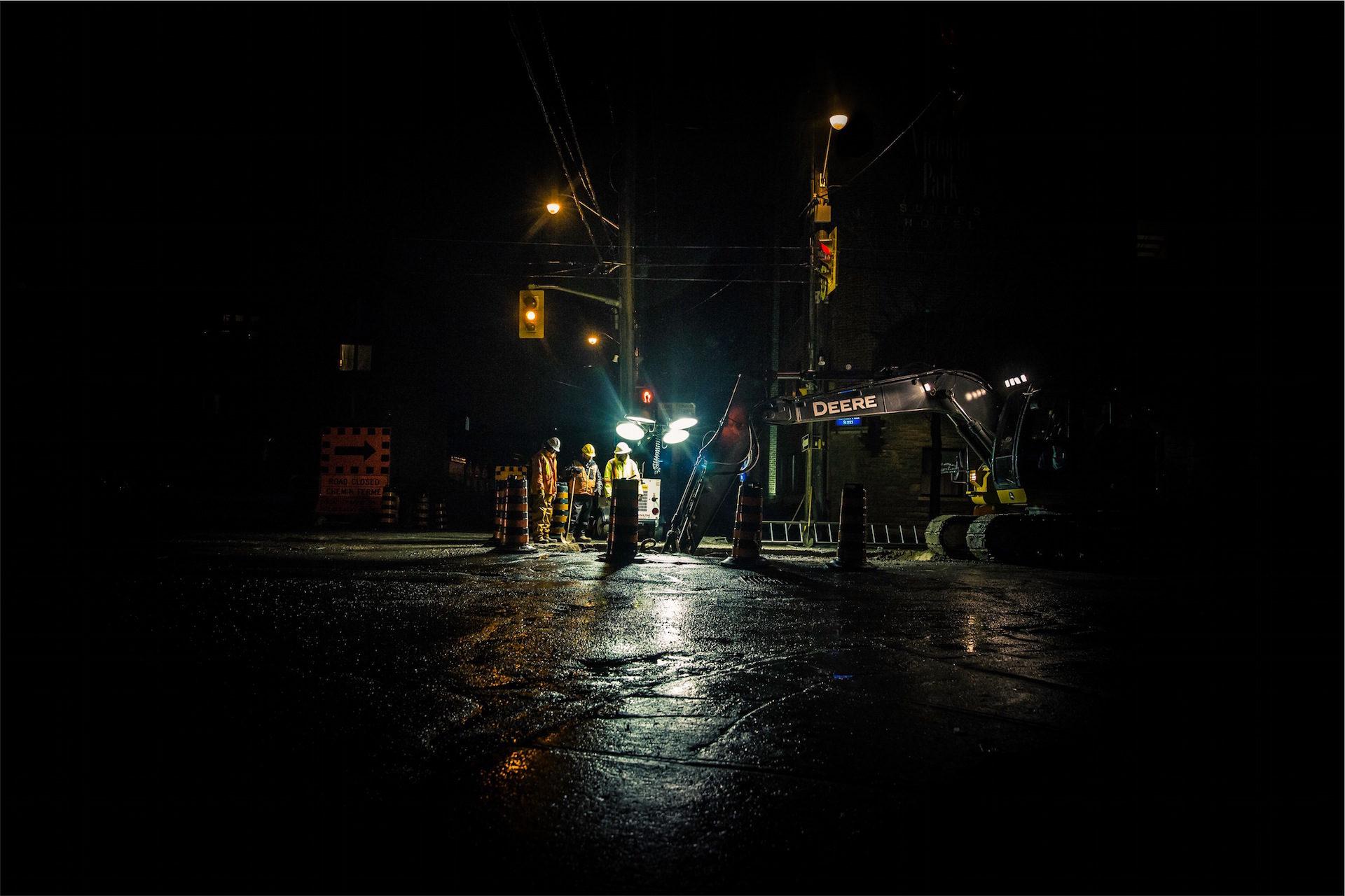 ночь, рабочие, техническое обслуживание, Светофоры, Пока вы спите - Обои HD - Профессор falken.com