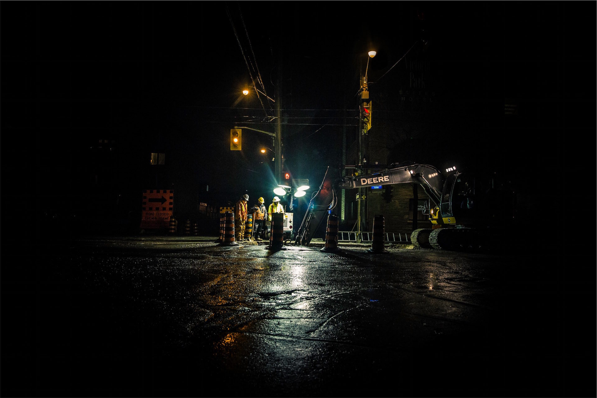 晚上, trabajadores, 维护, semáforos, mientras duermes - 高清壁纸 - 教授-falken.com