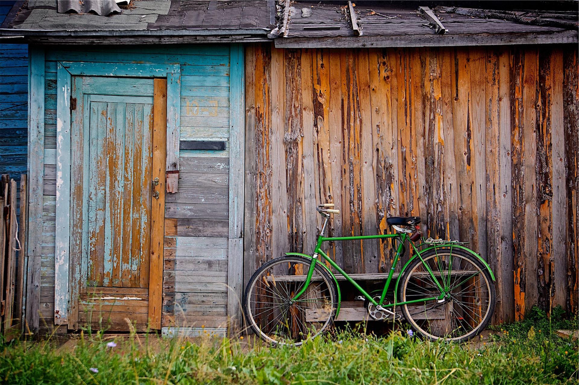 الدراجة, كابانا, الميدان, ريفي, الأخضر - خلفيات عالية الدقة - أستاذ falken.com