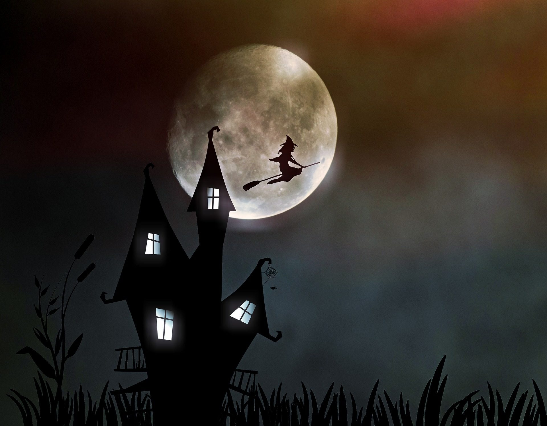 الساحرة, المنزل, القمر, رعب, خوف, عيد الهالوين - خلفيات عالية الدقة - أستاذ falken.com