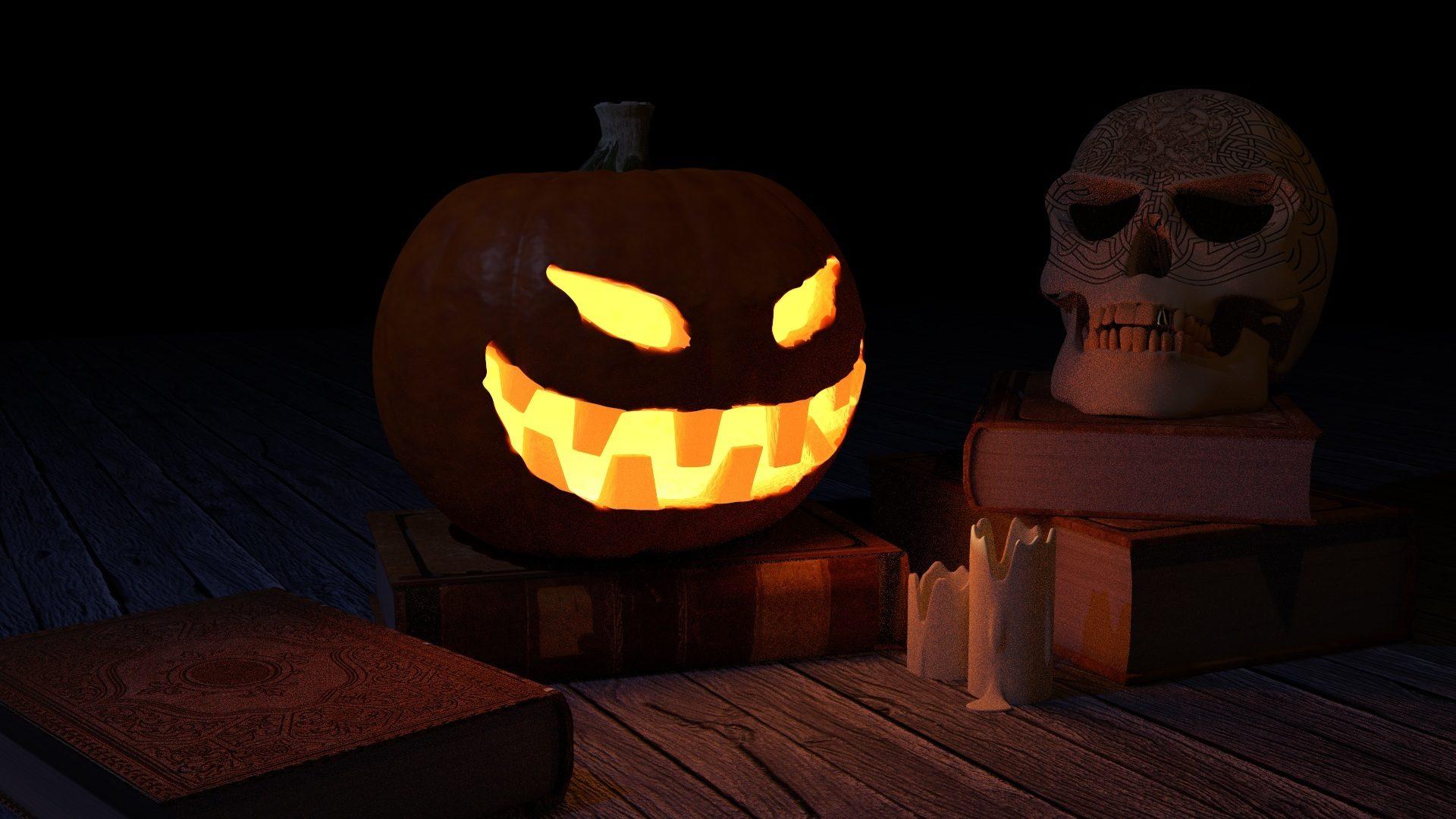 Тыква, череп, Книга, страх, ночь, Хэллоуин - Обои HD - Профессор falken.com
