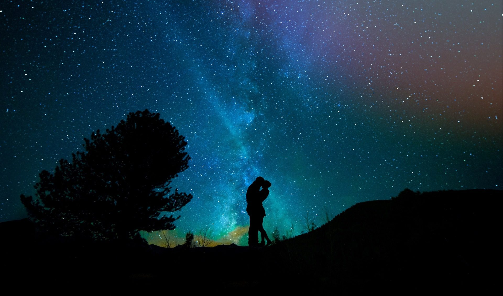 السماء, ليلة, عشاق, نجمة, شجرة - خلفيات عالية الدقة - أستاذ falken.com