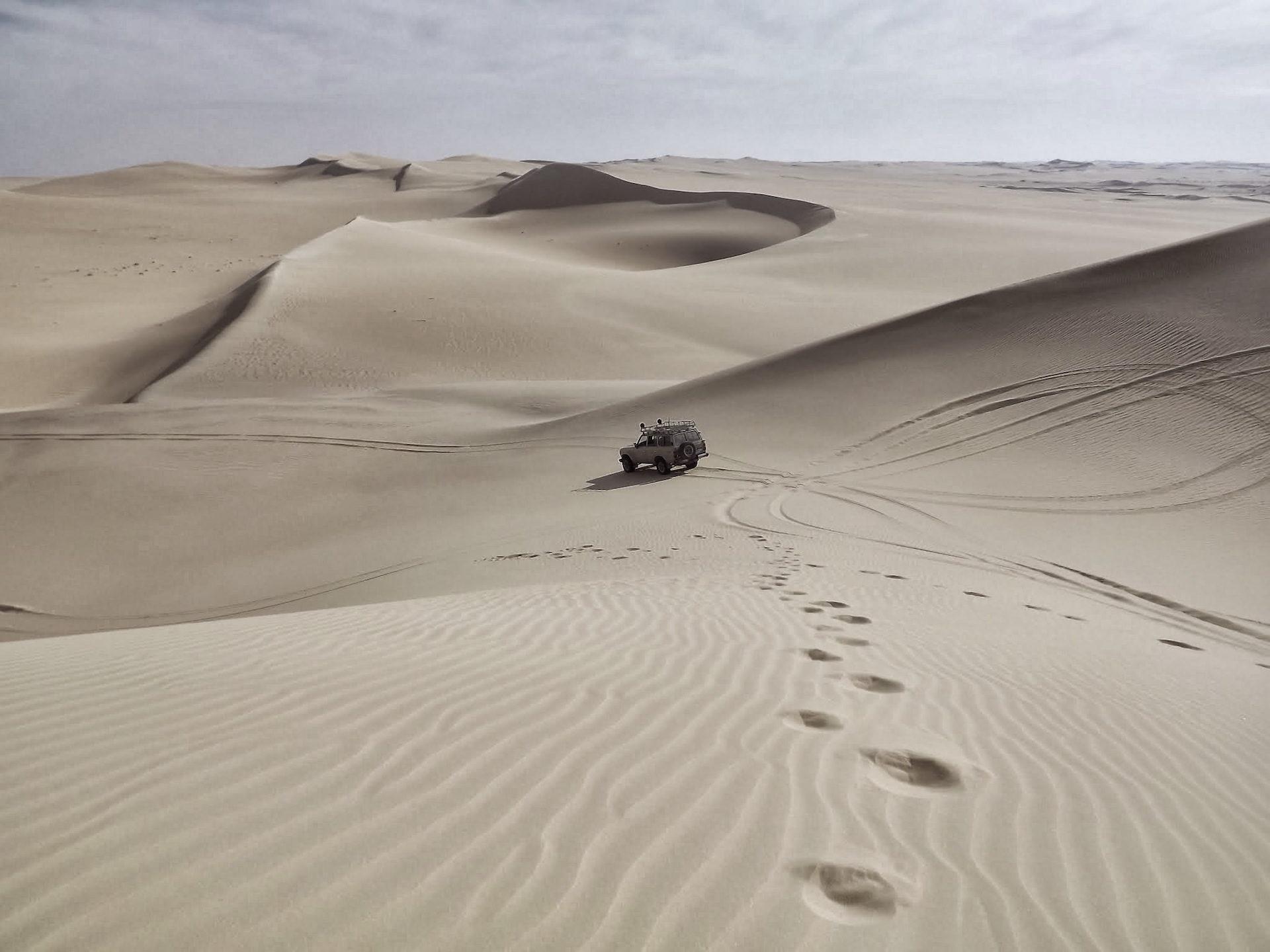 пустыня, автомобиль, следы, стопам, дюны - Обои HD - Профессор falken.com