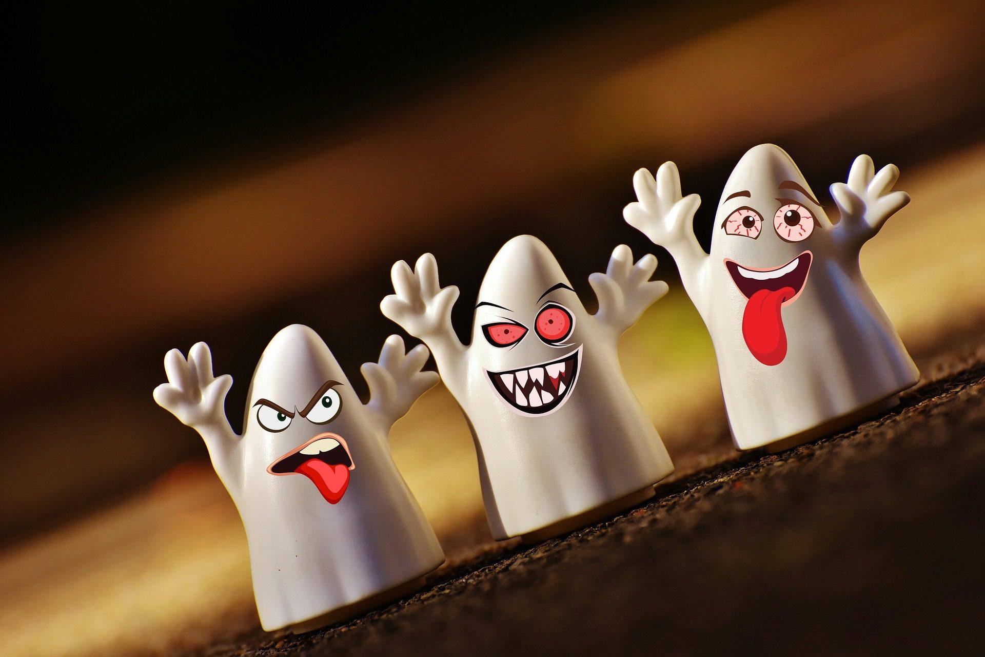 fantasmas, rostos, a brincar, riso, Dia das bruxas, diversão - Papéis de parede HD - Professor-falken.com