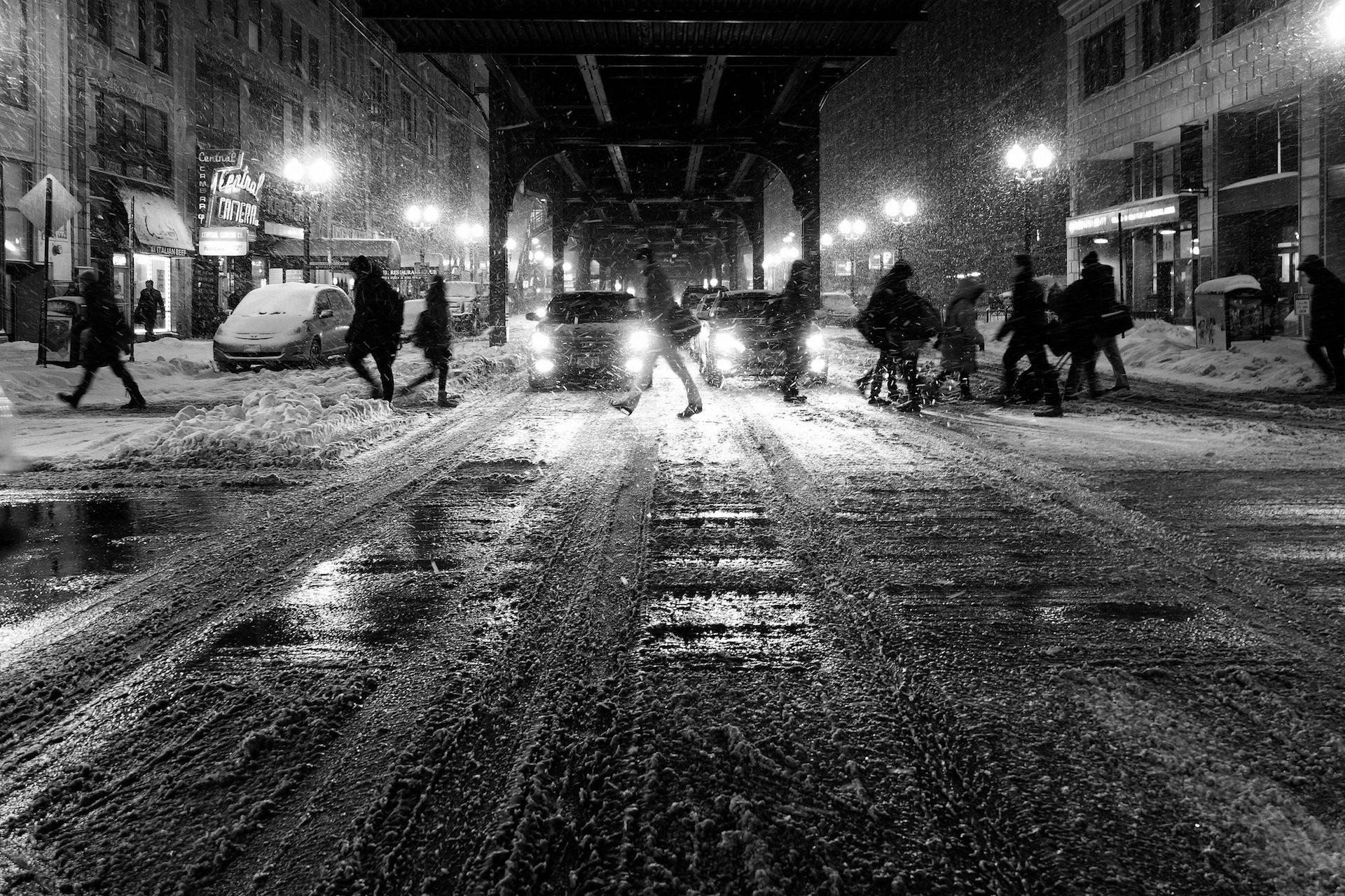 فصل الشتاء, الثلج, ليلة, أضواء, بالأبيض والأسود - خلفيات عالية الدقة - أستاذ falken.com
