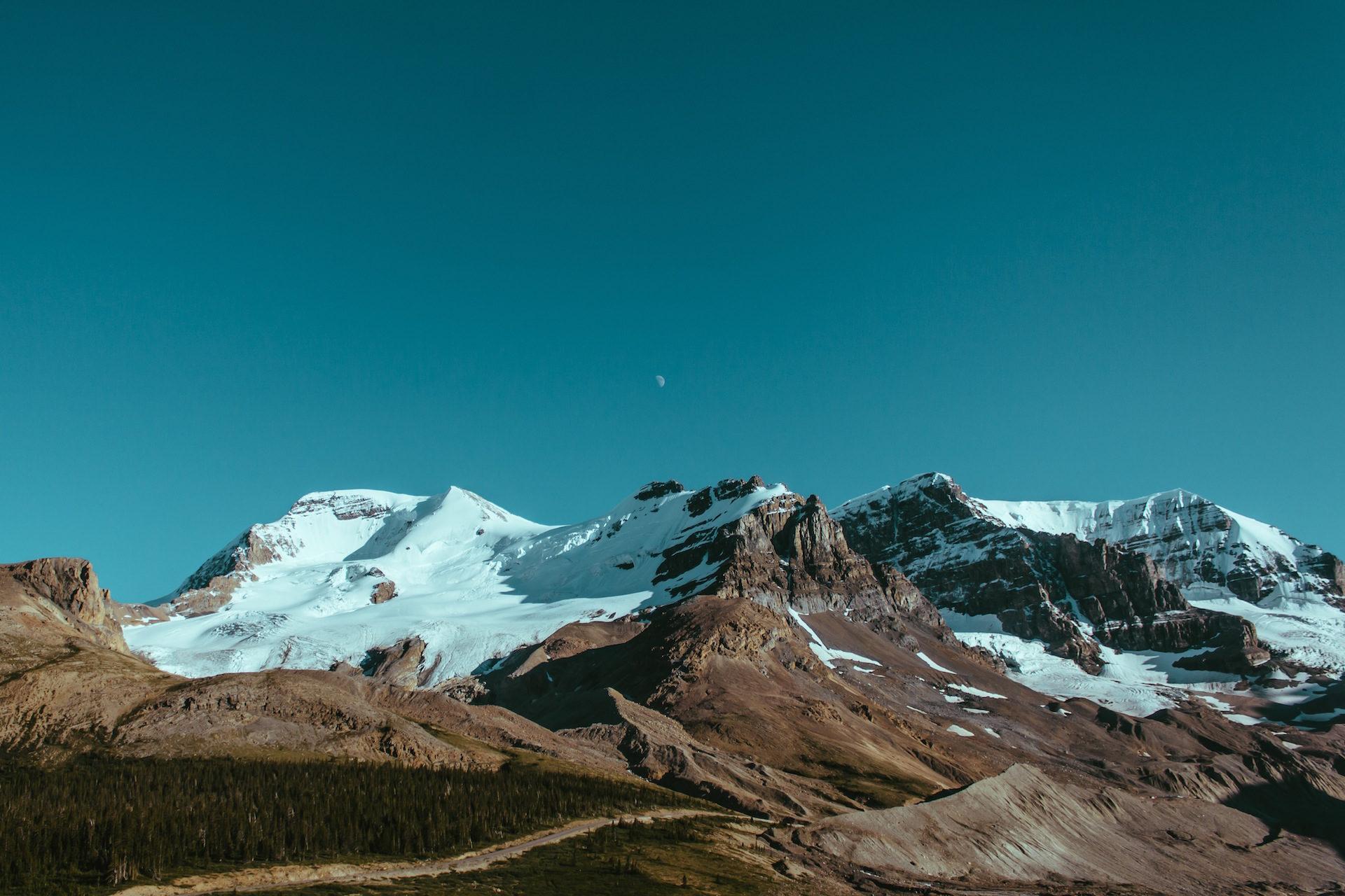 montañas, neve, Céu, Lua, Nevada - Papéis de parede HD - Professor-falken.com