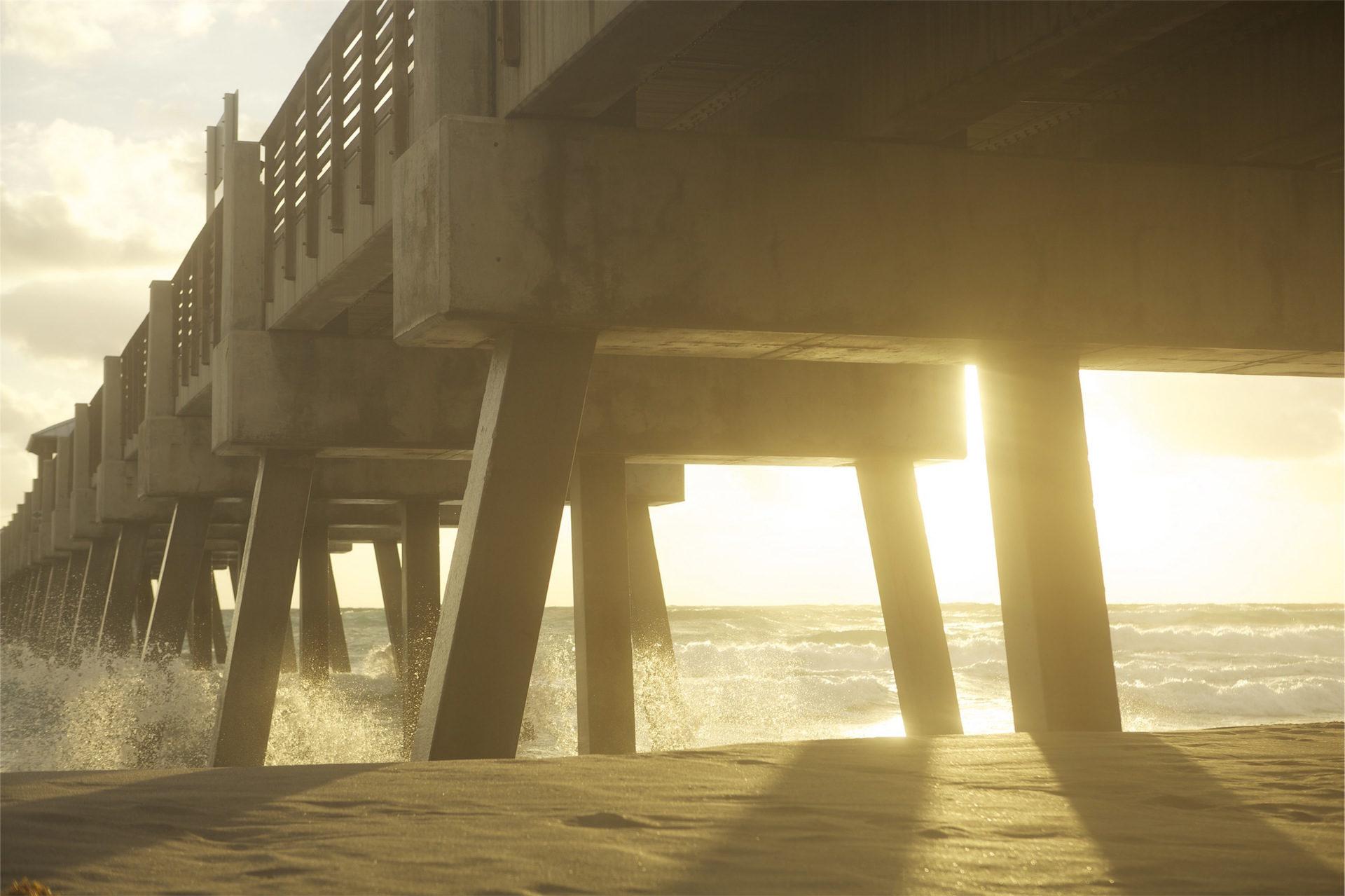 olas, Θά�κύματα�α, oleaje, γέφυρα, Ηλιοβασίλεμα - Wallpapers HD - Professor-falken.com