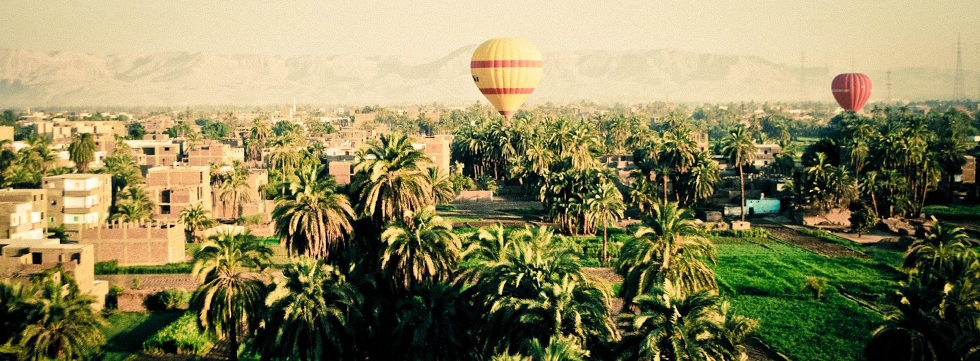 Palmen, Luftballons, heiße Luft, Montañas, Stadt - Wallpaper HD - Prof.-falken.com