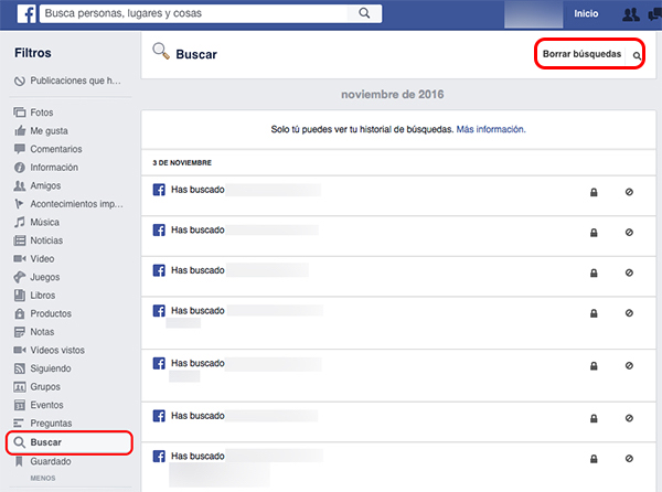 Come visualizzare o eliminare tutte le ricerche che hai fatto su Facebook - Immagine 4 - Professor-falken.com