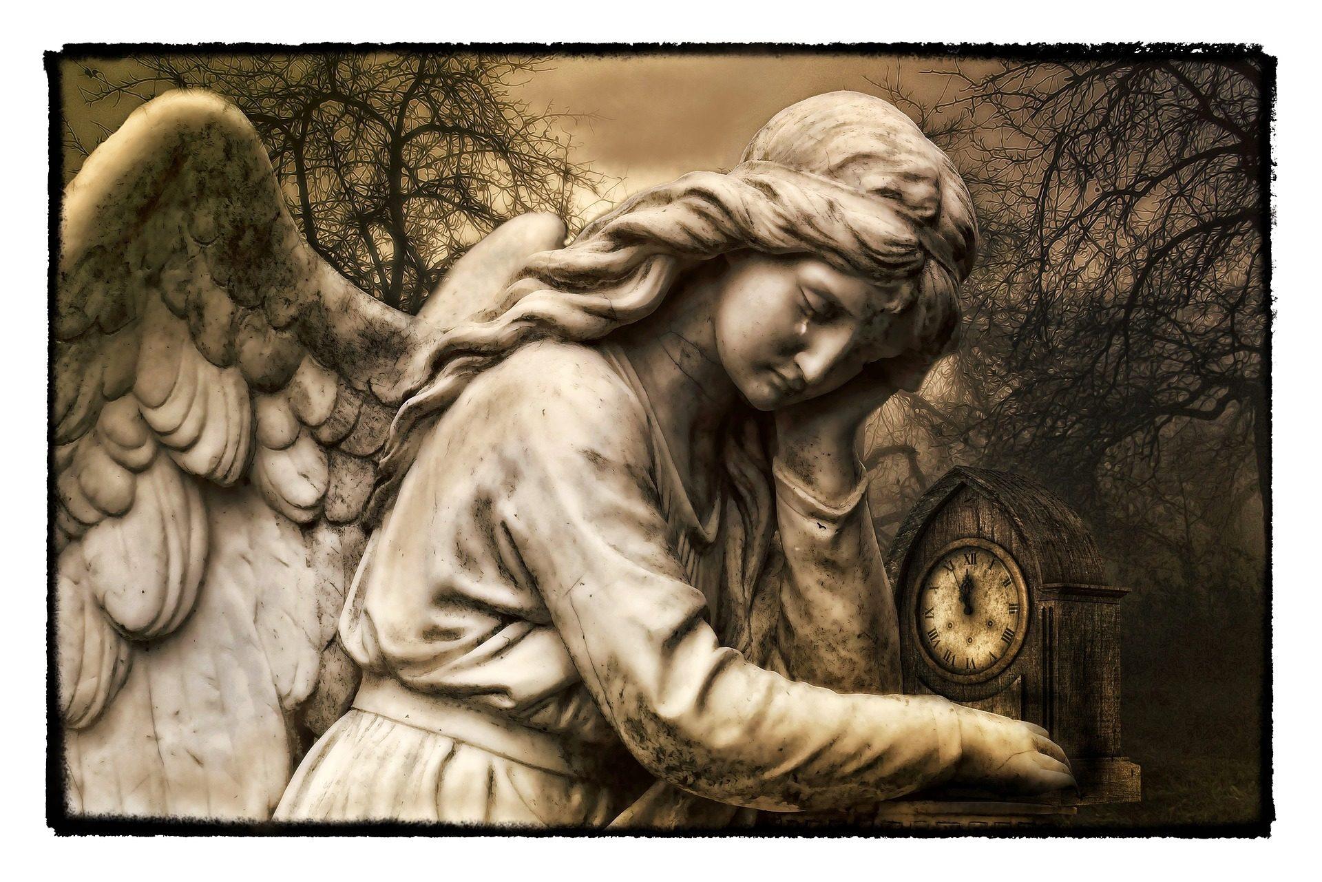 Άγγελος, κλάμα, Ρολόι, ώχρα, φτερά - Wallpapers HD - Professor-falken.com