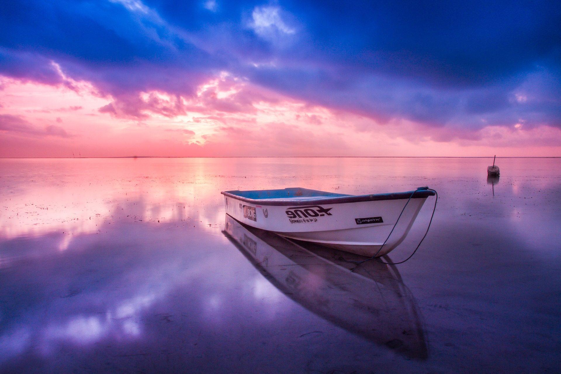 Барка, лодка, Пляж, Океан, Горизонт, облака, свет - Обои HD - Профессор falken.com