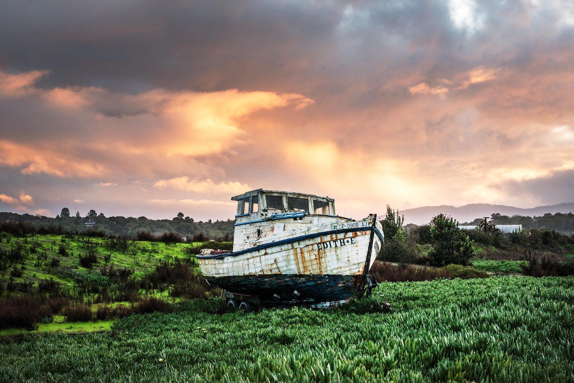 barco, pesca, Рыбалка, Б�лодка�а, bote, Небо, поле, облака - Обои HD - Профессор falken.com