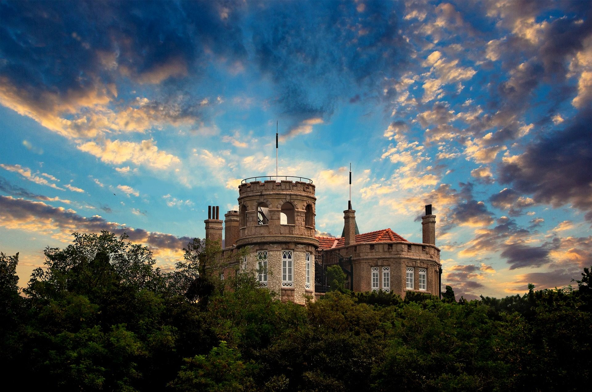 Замок, потеряли, растений, деревья, поле, Небо, Салон красоты - Обои HD - Профессор falken.com