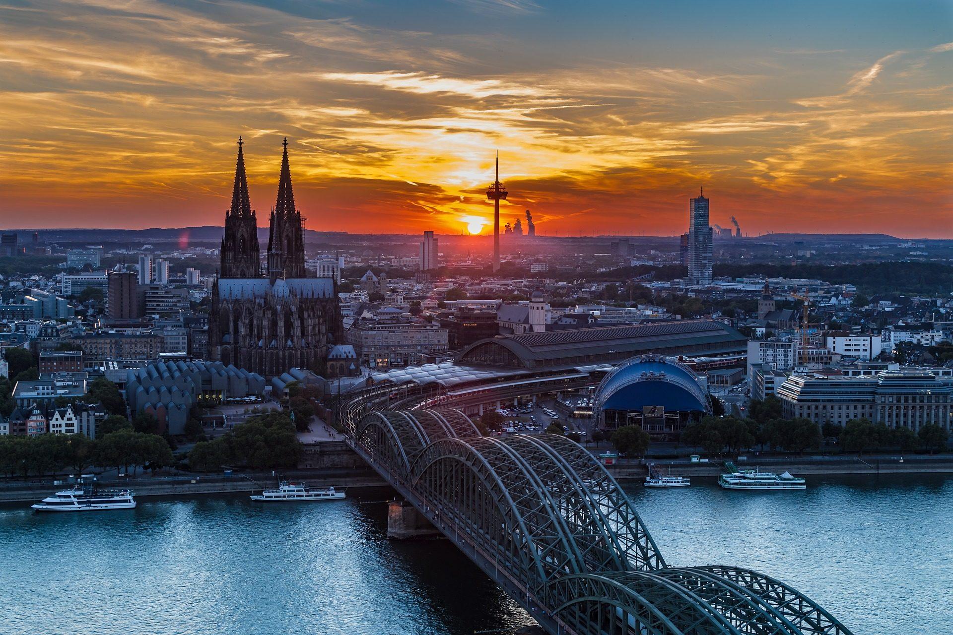 Ville, aube, pont, Cathédrale, Cologne - Fonds d'écran HD - Professor-falken.com