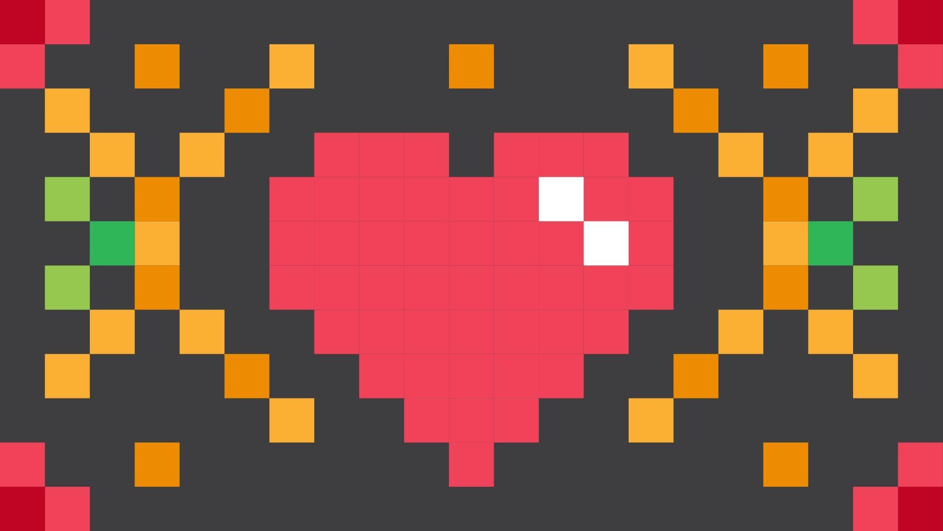 Corazón, pixel, bits de, pixelada, Praça - Papéis de parede HD - Professor-falken.com