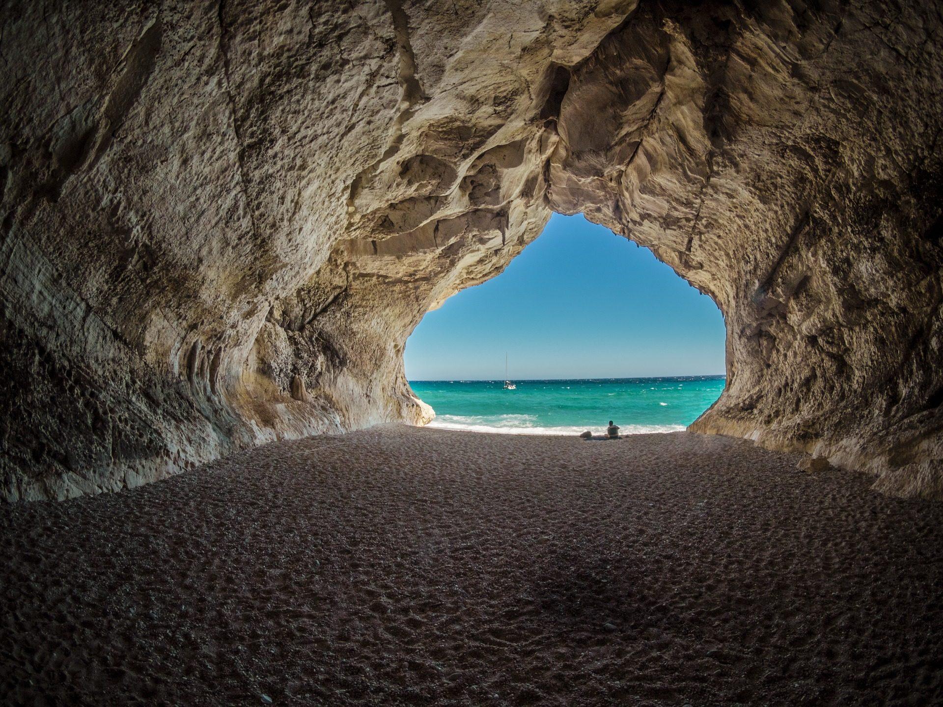 Cueva, Plage, Sky, Mer, Cala gonone, Italie - Fonds d'écran HD - Professor-falken.com