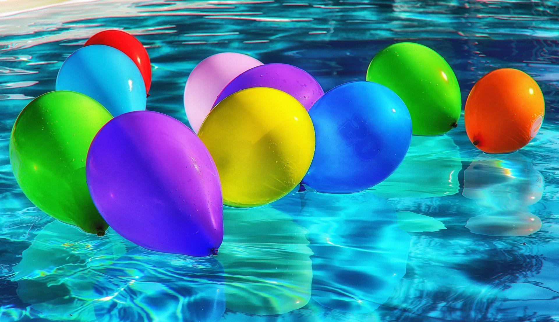 气球, 水, 游泳池, 多彩, 反思 - 高清壁纸 - 教授-falken.com