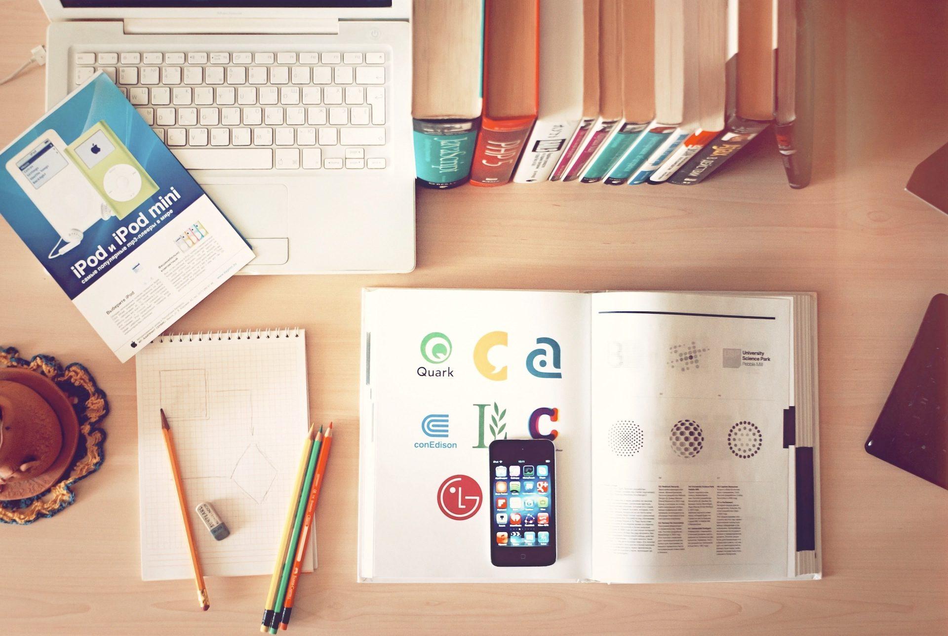 书, 计算机, 桌面, 移动, 办公室, 铅笔 - 高清壁纸 - 教授-falken.com