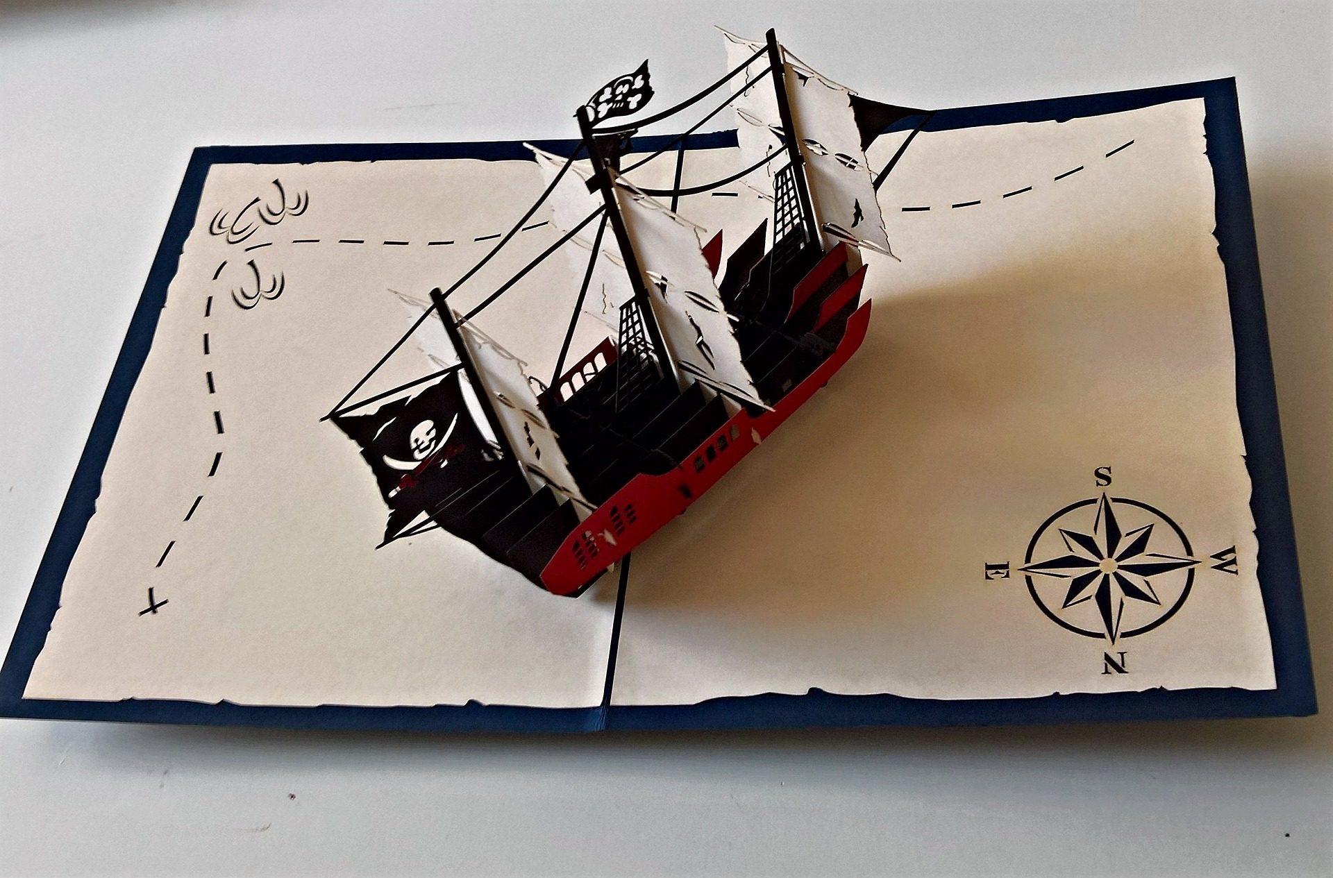 mapa, barco, Pirata, cartão, saudação, 3d - Papéis de parede HD - Professor-falken.com