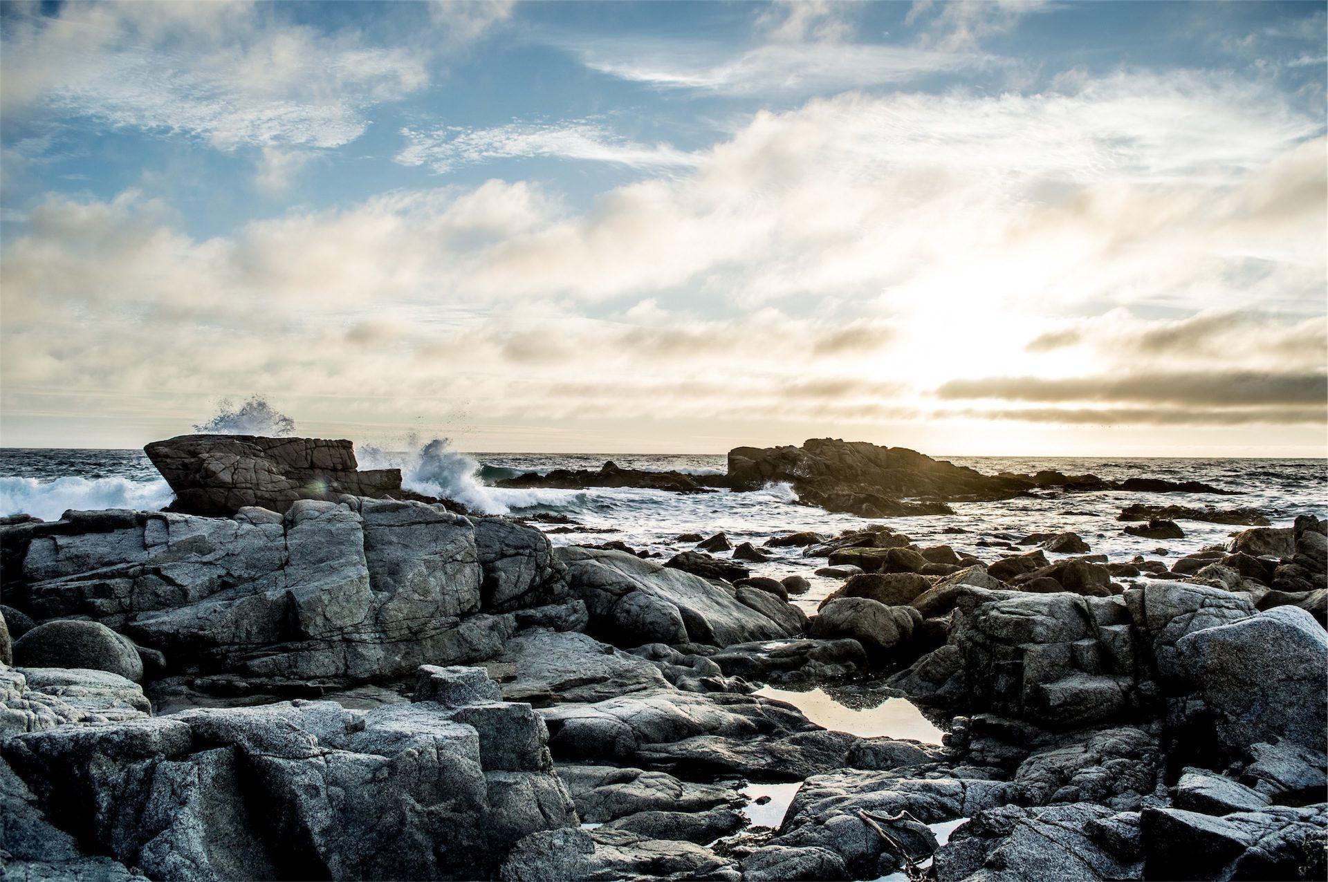 Mar, olas, pedras, oondas Céu, nuvens, Sol - Papéis de parede HD - Professor-falken.com
