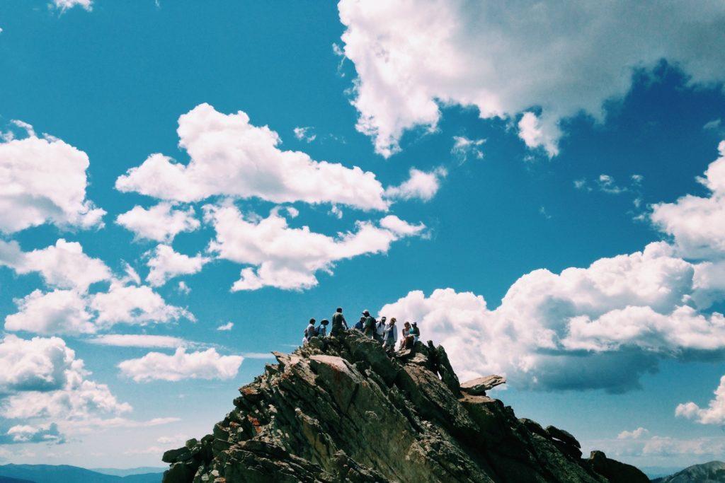 montaña, pico, cima, personas, gente, nubes, cielo, altitud, 1611031158
