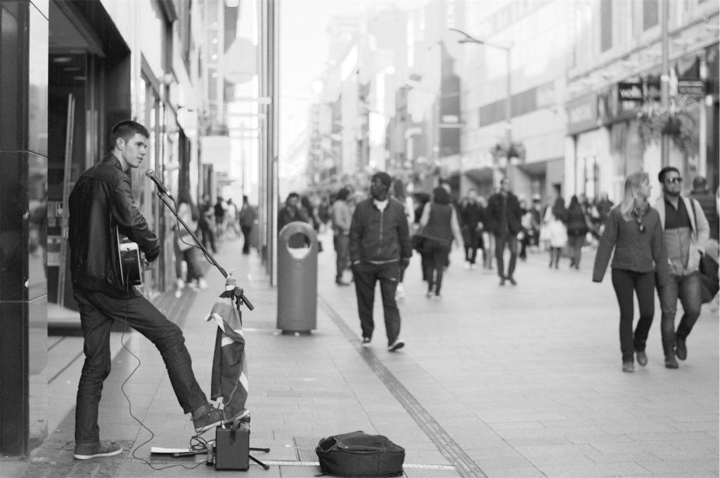 músico, Rua, esmola, pessoas, em preto e branco, 1611051550