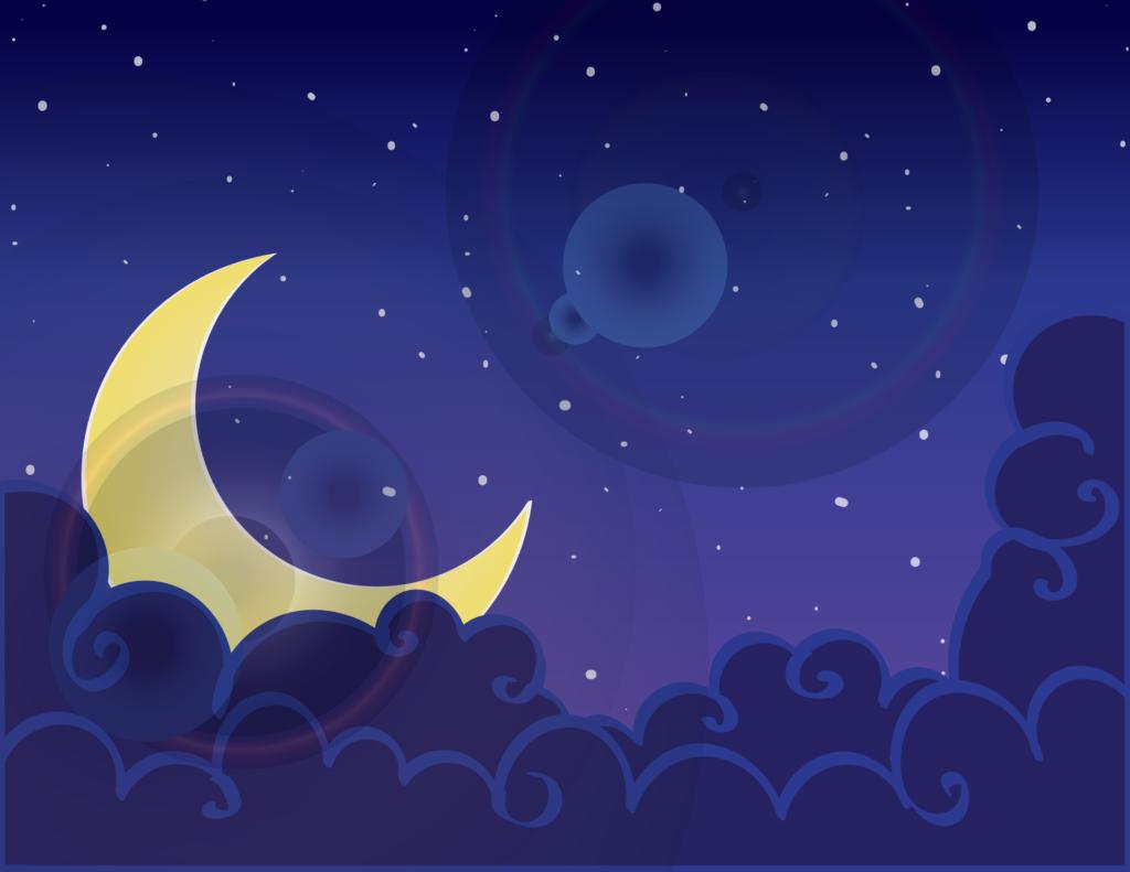 晚上, 月亮, 星级, 云彩, 天空, 绘图, 1611242235