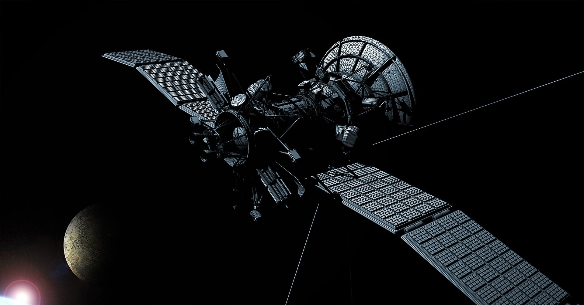 Спутниковое, пространство, Луна, Солнце, Вселенная - Обои HD - Профессор falken.com