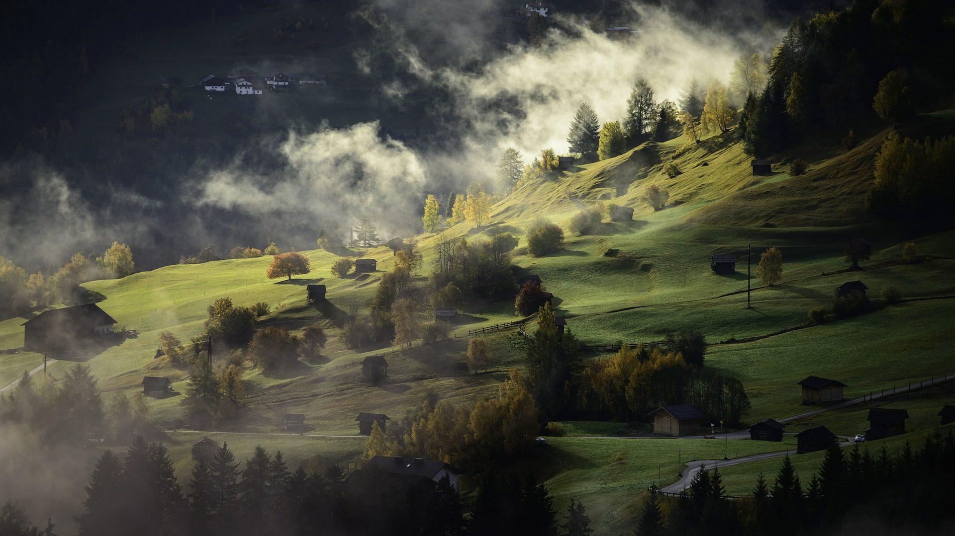 فيلا, قرية, جبل, المرج, ضباب, الظلام - خلفيات عالية الدقة - أستاذ falken.com