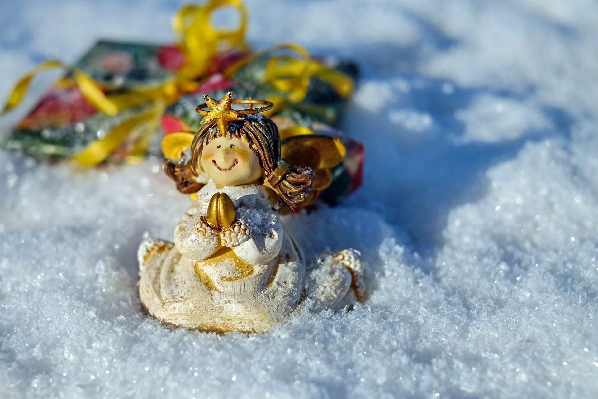 Ангел, снег, Зима, Рождество, подарок - Обои HD - Профессор falken.com