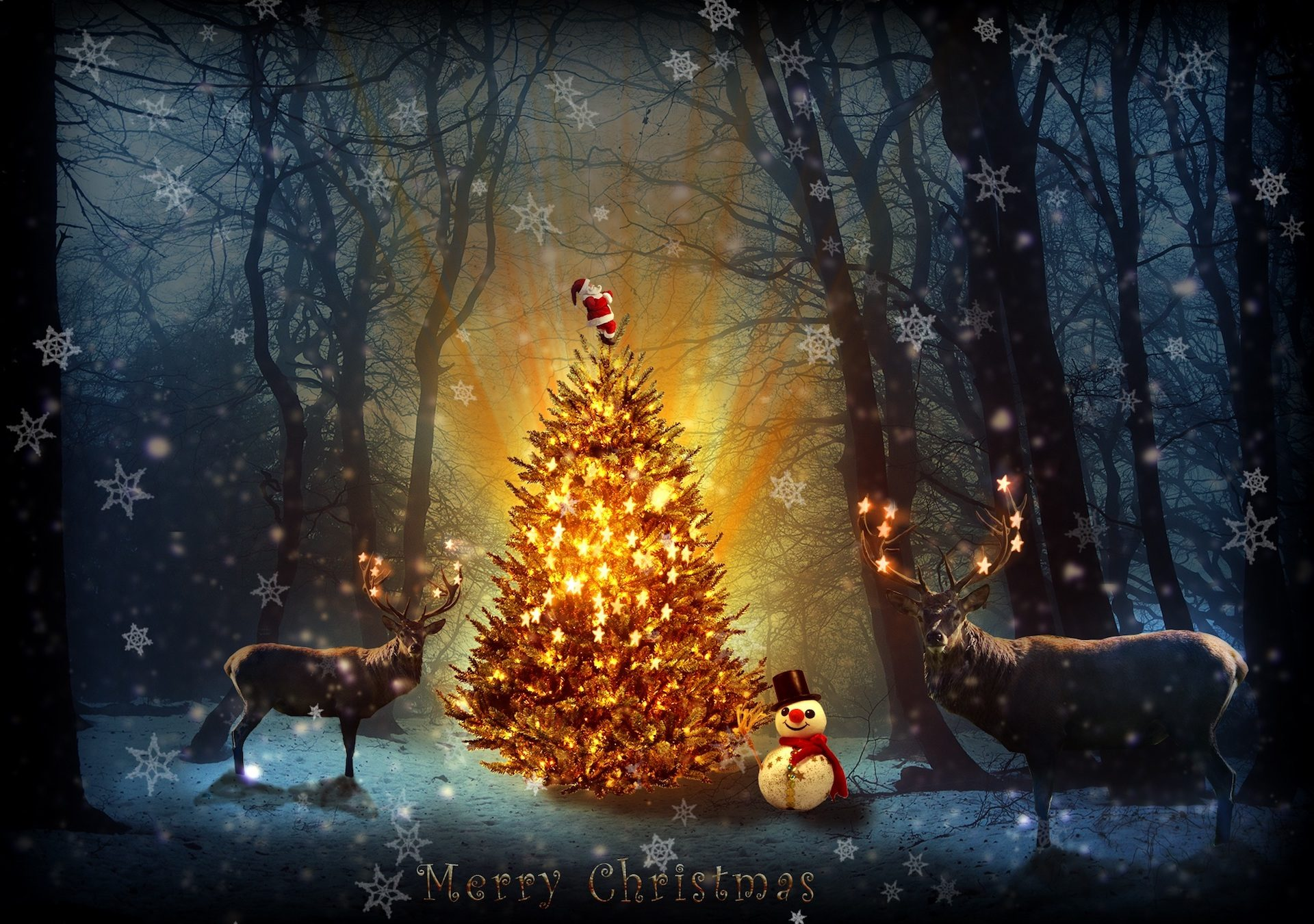 δέντρο, Ελάφια, χιονάνθρωπος, δάσος, Χαιρετισμός, κάρτα, Χριστούγεννα - Wallpapers HD - Professor-falken.com