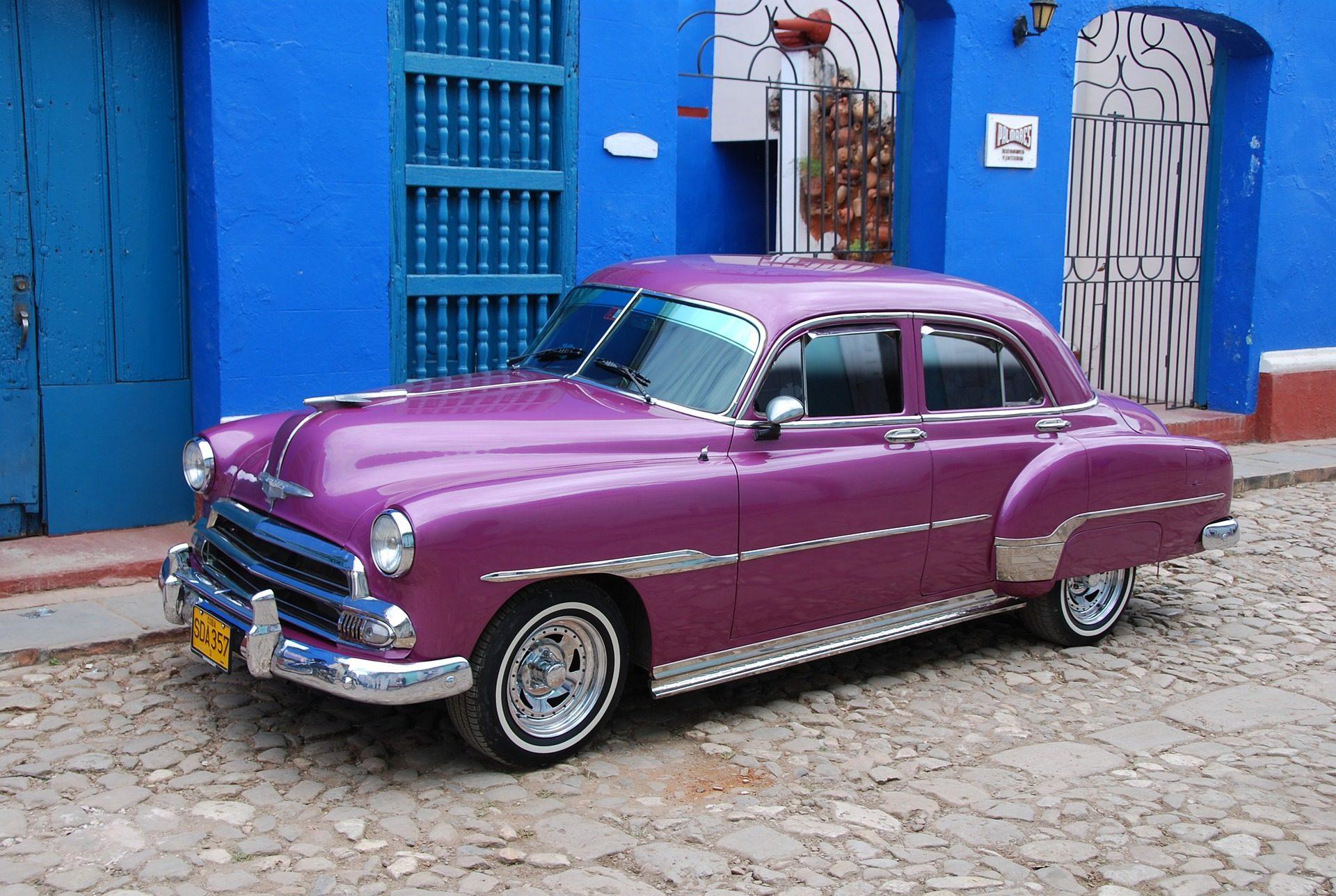 автомобиль, Старый, Винтаж, Фиолетовый, Гавана, Куба - Обои HD - Профессор falken.com