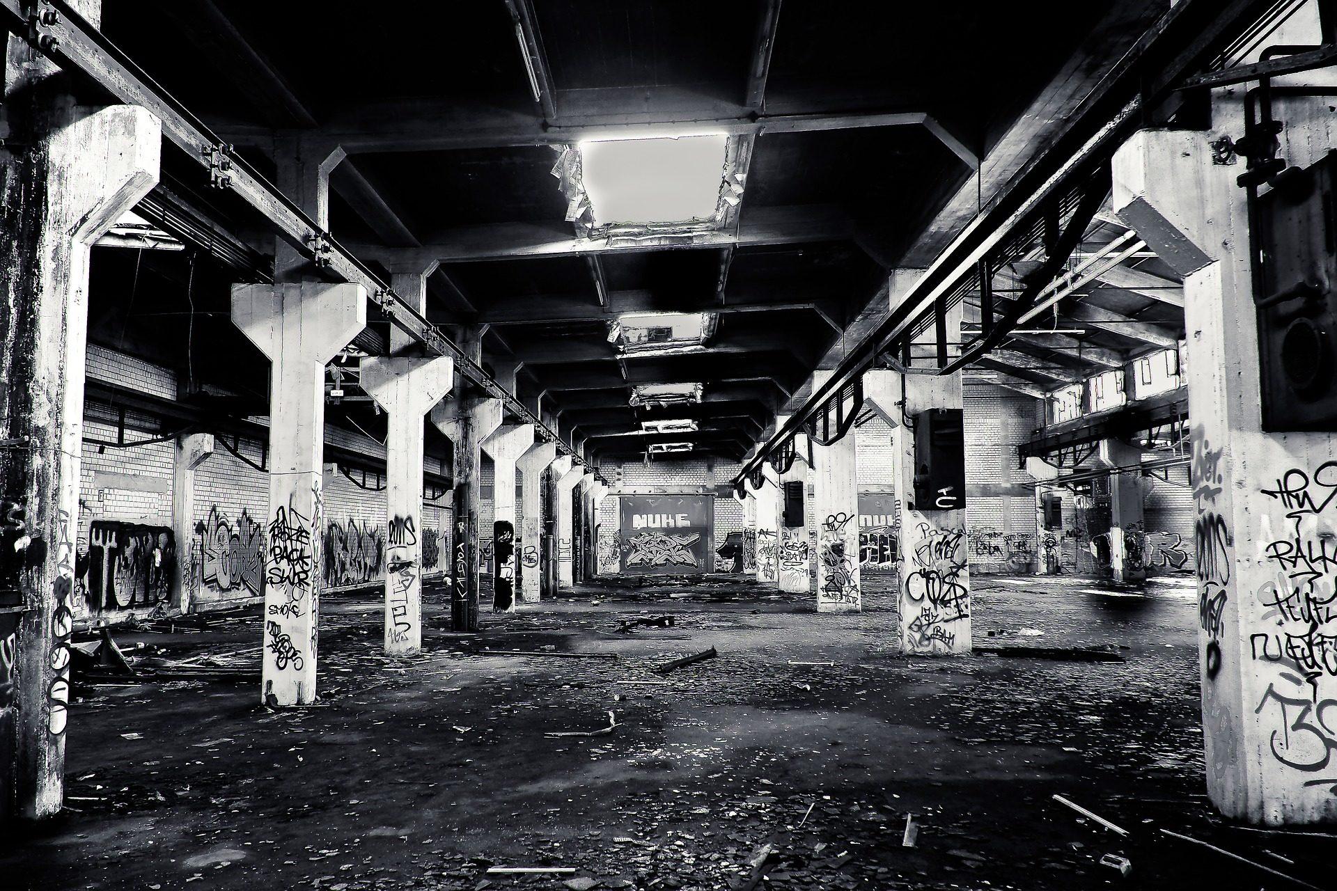 bâtiment, architecture, vieux, abandonné, poubelle, saleté, en noir et blanc - Fonds d'écran HD - Professor-falken.com