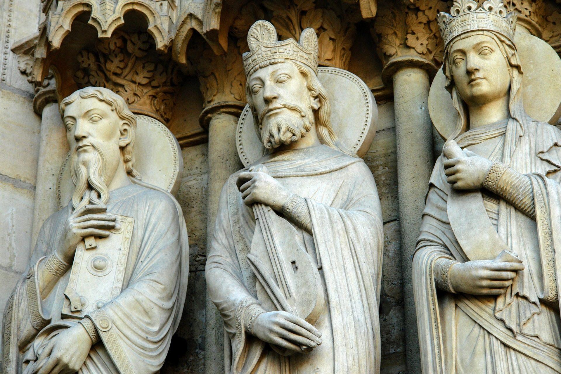 التماثيل, كنيسة, كاتدرائية, الهندسة المعمارية, سيدة, باريس - خلفيات عالية الدقة - أستاذ falken.com
