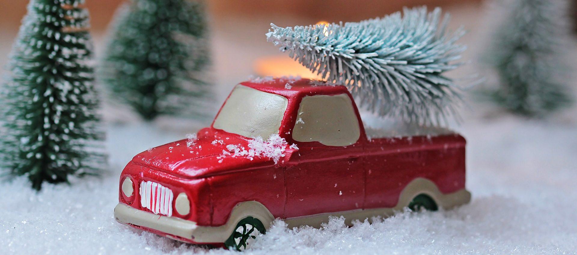 Brinquedo, carro, Van, abeto, neve, Natal - Papéis de parede HD - Professor-falken.com
