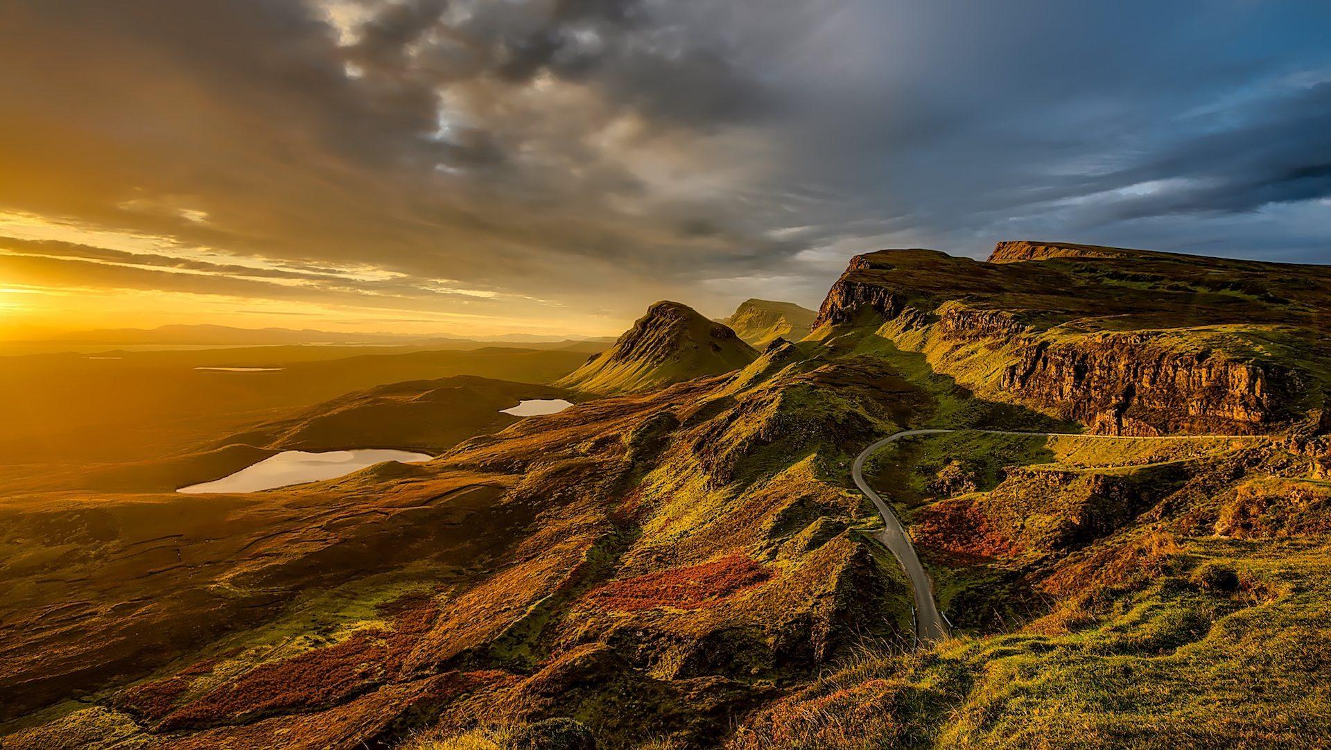 montañas, colinas, cielo, carretera, nubes, escocia - Fondos de Pantalla HD - professor-falken.com