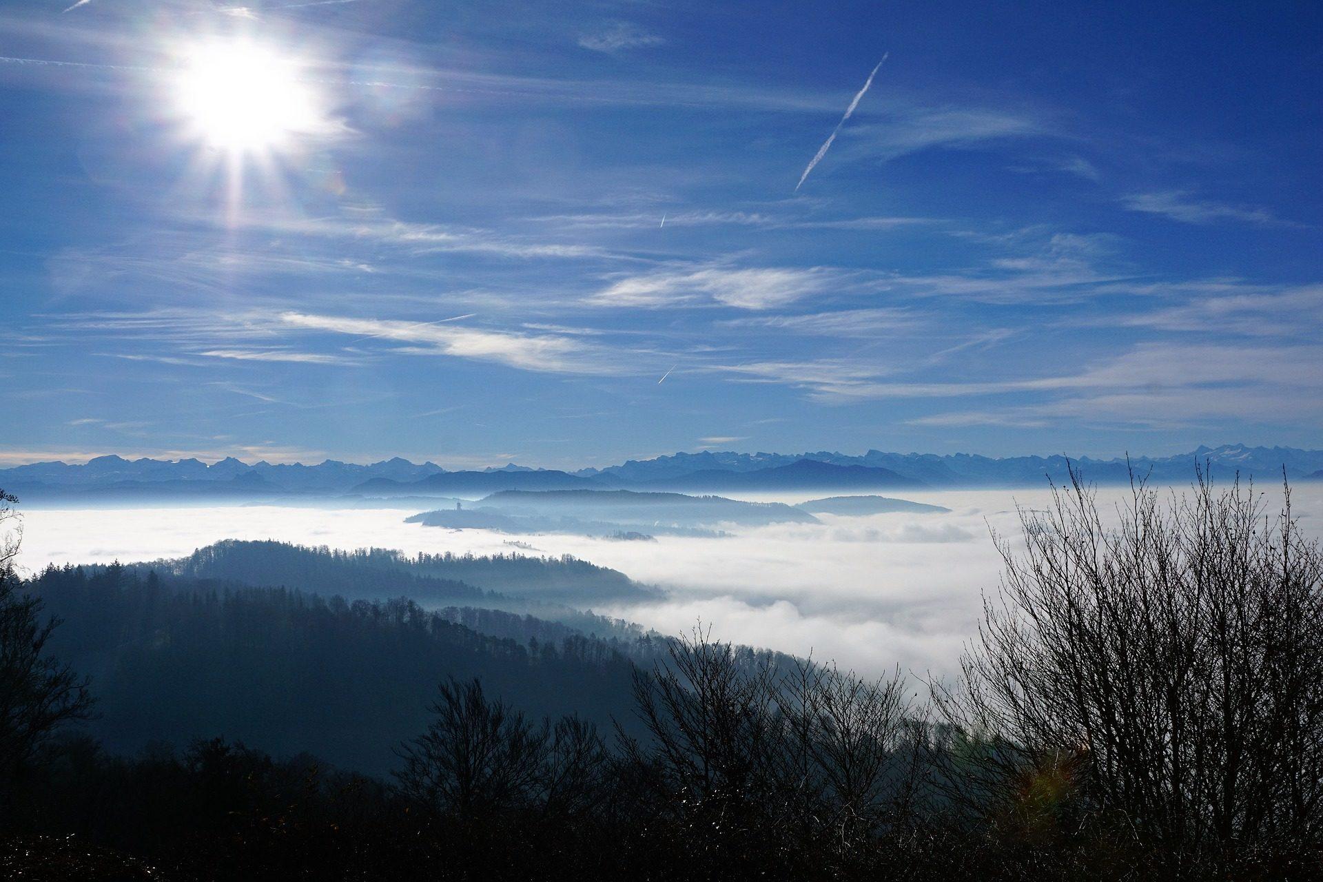 الجبال, السحب., السماء, الأشجار, Uetliberg, زيورخ - خلفيات عالية الدقة - أستاذ falken.com