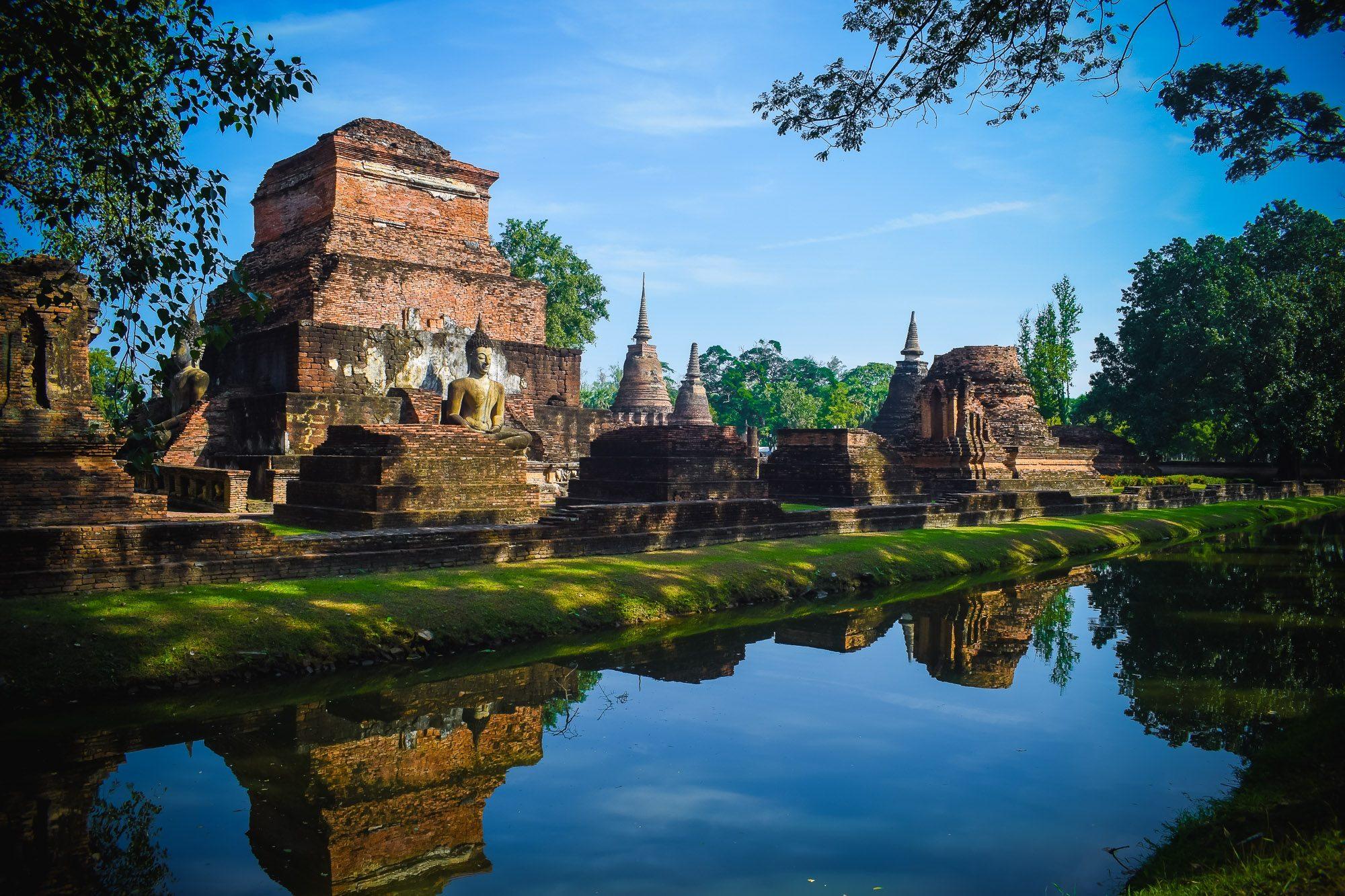 monuments, Parc, étang, eau, Cité de la joie, Sukhothai - Fonds d'écran HD - Professor-falken.com