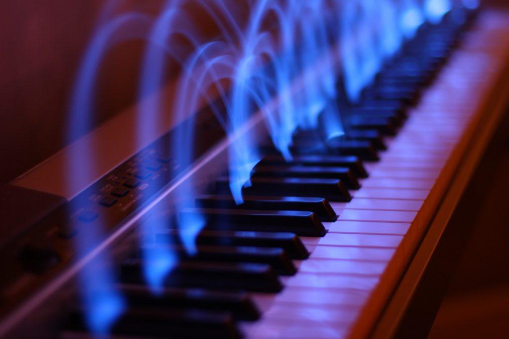 piano, clés, halos, effets, lumières, 1612291428