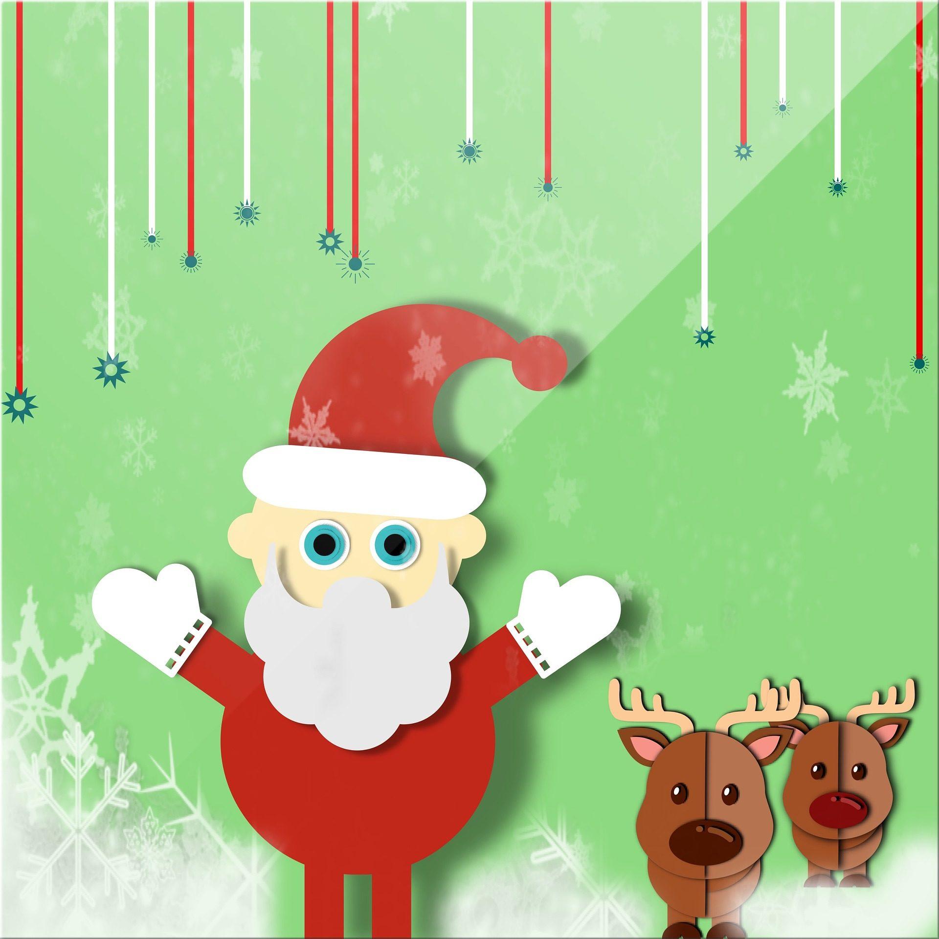 santa claus, Papai noel, Rena, cartão, saudação, neve, Natal - Papéis de parede HD - Professor-falken.com
