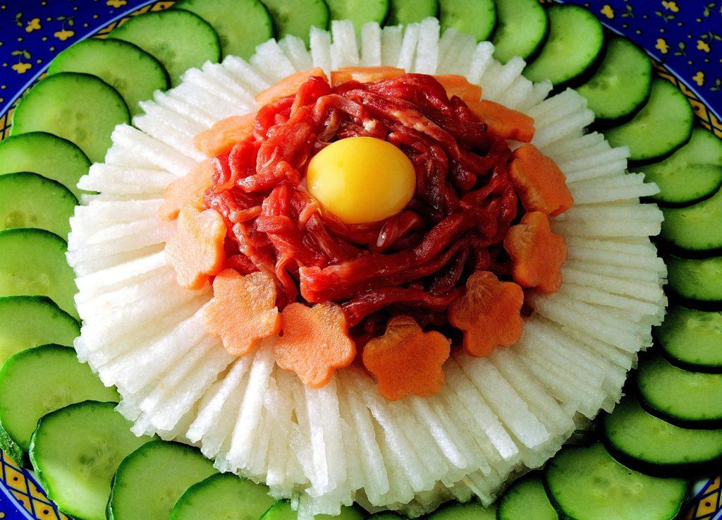 aperitivo, decoración, coreano, zanahorias, huevo, pepinos, 1701312013