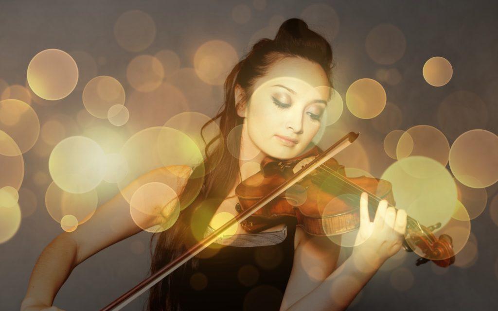 Frau, Musik, Violín, Instrument, Halos, Lichter, 1701012217