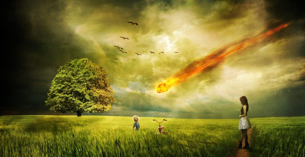 prado, árbol, mujer, niño, meteorito, impacto, devastación, 1701171705